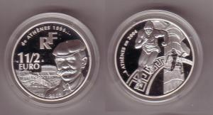 1 1/2 Euro Frankreich Olympiade Athen 2004, Pierre de Coubertin 2003 PP (109274)