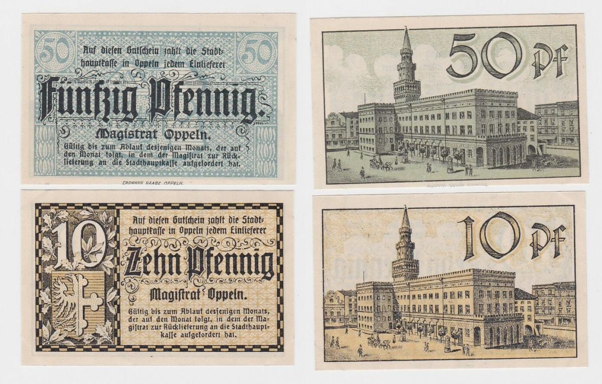 10 & 50 Pfennig Banknoten Notgeld Stadt Oppeln o.D. (1920) (120576) 0