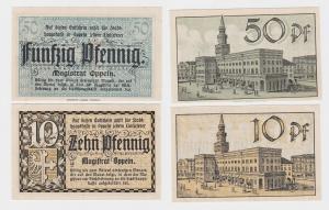 10 & 50 Pfennig Banknoten Notgeld Stadt Oppeln o.D. (1920) (120576)