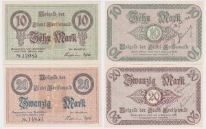 10 und 20 Mark Banknoten Notgeld Stadt Greifswald 1918 (120610)