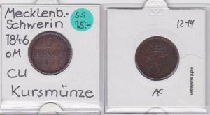 3 Pfennig Kupfer Münze Mecklenburg-Schwerin 1846 (121065)