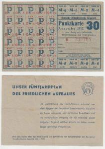 DDR Punktkarte Ausgabe 1952 zum Bezug von Leibwäsche, Strümpfen usw. (116439)