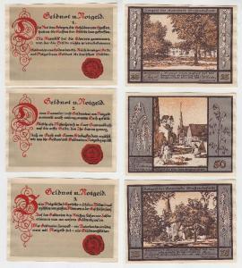 3 Banknoten Notgeld Gemeinde Großrudestedt 1921 (116172)