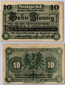 10 Pfennig Banknote Notgeld Gewerbeverein Bockwitz N.-L. 01.07.1919 (106070)