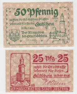 25 und 50 Pfennige Banknoten Notgeld Stadt Idstein um 1920 (111374)