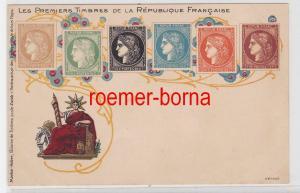 84505 Ak Lithographie Die ersten Briefmarken von Frankreich um 1900