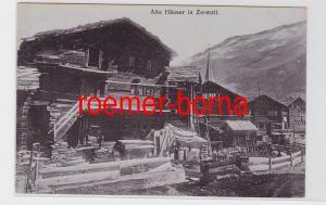 82301 Ak Alte Häuser in Zermatt 1913