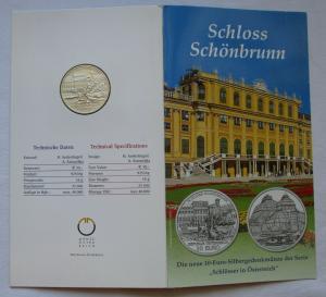 Mappe 10 Euro Silbermünze Österreich Schloss Schönbrunn 2003 (125459)