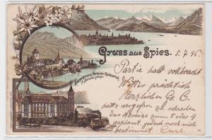 90295 Lithografie AK Gruss aus Spiez - GrandHôtel & Pension Spiezerhof 1896