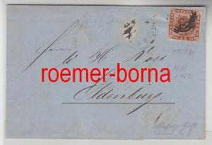 75854 alter Brief von Dänemark nach Kiel 4 Schilling gezähnt 1863