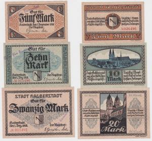 5, 10 und 20 Mark Banknoten Notgeld Stadt Halberstadt 1918 (120437)