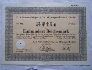 Aktie E.A.Schwerdtfeger & Co AG Berlin 4.November 1938 (117067)