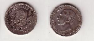 2 Pesetas Silber Münze Spanien Alfonso XII 1882 (107373)