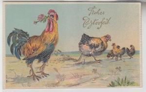 12656 Frohe Oster Präge Ak Hahn mit 4 Hühnern 1911