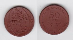 50 Pfennig Porzellan Münze Tannhausen Schlesien Meyer Kaufmann 1921 (132198)