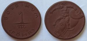 1 Mark Porzellan Meissen Notgeld Münze Boldixum (Föhr) (125474)