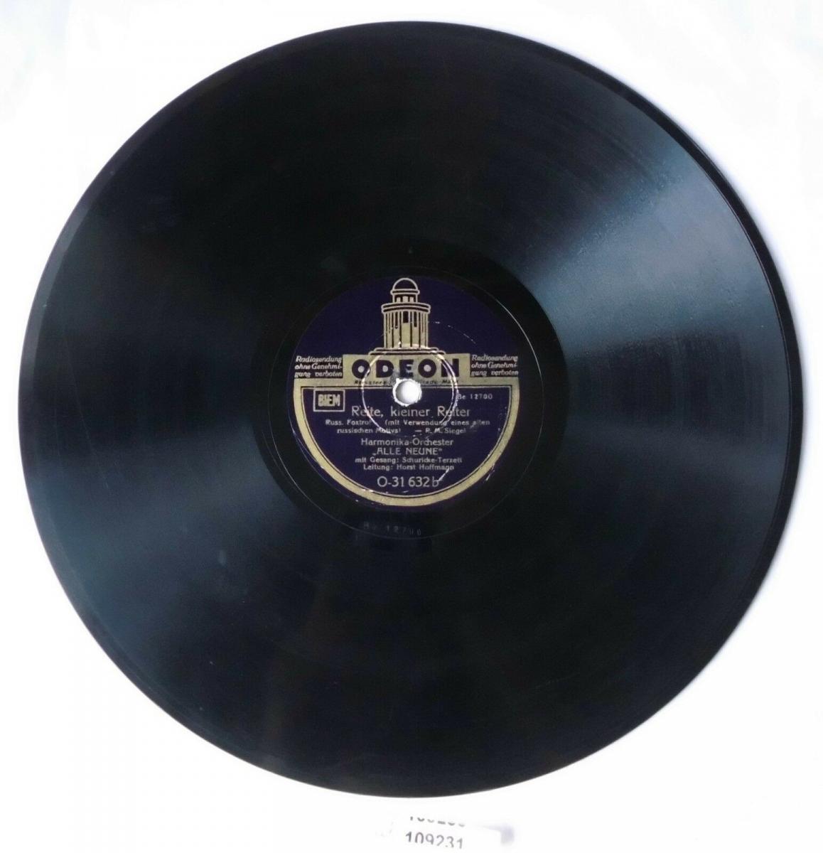 109231 Schellackplatte Odeon Harmonika-Orchester Alle Neune / Schuricke um 1930 0