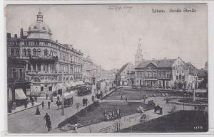 89287 AK Libau - Große Straße, Straßenansicht mit Straßenbahn und Kutsche 1921