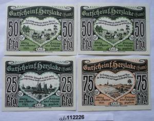 4 Banknoten Notgeld Herzlake (Hann.) 1921 kassenfrisch (112226)