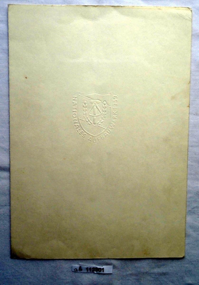 DDR Urkunde zur Aufbaunadel in Bronze 1969 (112301) 0