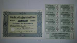 100 RM Aktie Meißner Ofen- und Porzellanfabrik (vorm.C.Teichert) 1934 (131223)