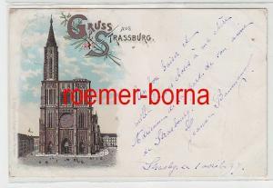73720 Ak Lithographie Gruß aus Strassburg im Elsass Münster 1897