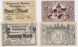 5 und 20 Mark Banknoten Notgeld Stadt Bamberg 1918 (120279)