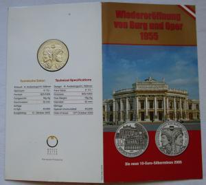 Mappe 10 Euro Silbermünze Österreich Wiedereröffnung von Burg und Oper (125456)