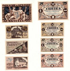 4 Banknoten Notgeld Städtische Sparkasse Triebes 1921 (112882)