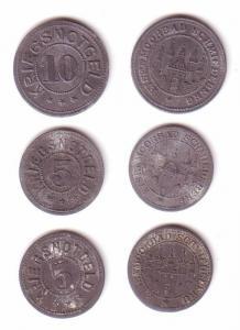 2 x 5 & 10 Pfennig Notgeld Zink Münzen Stadt Schmiedeberg ohne Jahr (112367)