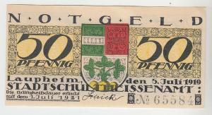 50 Pfennige Banknote Notgeld Stadtschultheissenamt Laupheim 1919 (111943)