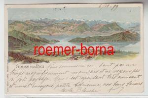 73706 Ak Lithographie Gruss vom Rigi Schweiz Totalansicht 1899
