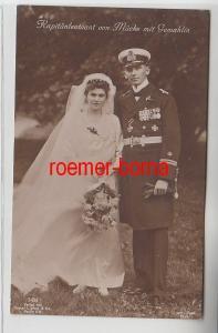 72307 Foto Ak Kapitänleutnant von Mücke mit Gemahlin Brautpaar um 1915