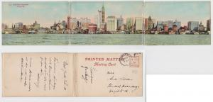 87003/ 3fach Klapp Ak New York Water Front from Jersey City 1912