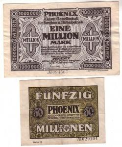 1 und 50 Millionen Mark Banknoten Düsseldorf Phönix Bergbau 1923 (110788)