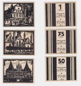 3 Banknoten Notgeld Lübeck Vereinigung zur Kunstpflege o.D. (1922) (121144)