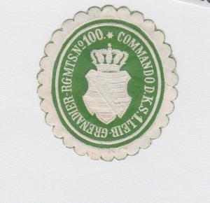 Seltene Vignette Siegelmarke 1.Leib Grenadier Regiment Nr.100 Dresden (122325)