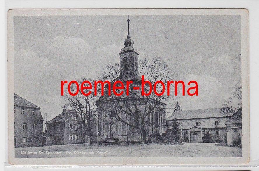20916 Ak Mallmitz Małomice Kreis Sprottau Kirche mit Kapelle um 1940 0