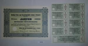 100 RM Aktie Meißner Ofen- und Porzellanfabrik (vorm.C.Teichert) 1934 (131735)