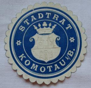 Seltene Vignette Siegelmarke Stadtrat Komotau i/B. (124928)