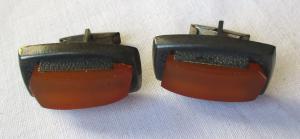 Auffällige 875er Silber Manschettenknöpfe mit riesigem orangen Stein (111085)