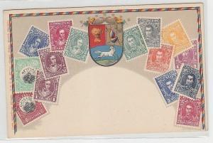 21803 Wappen Ak Venezuela mit Briefmarken um 1900