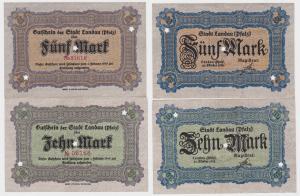 5 und 10 Mark Banknoten Notgeld Stadt Landau 1918 (120293)