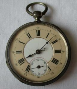 Seltene Silber Herren Taschenuhr mit Schlüsselaufzug um 1900 (134506)