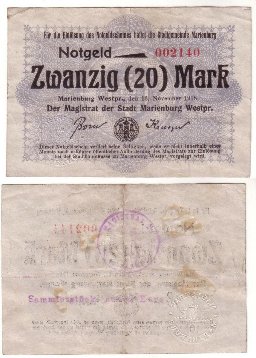 20 Mark Banknote Notgeld Stadtgemeinde Marienburg 13.11.1918 (112522) 0