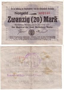 20 Mark Banknote Notgeld Stadtgemeinde Marienburg 13.11.1918 (112522)