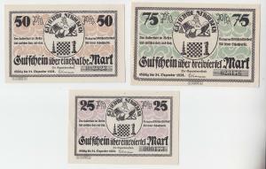 3 Banknoten Notgeld Gemeinde Stroebeck Schach Motive 1921 (103910)