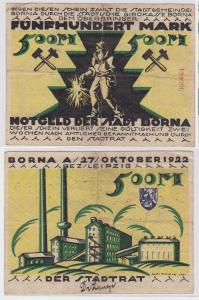 500 Mark Banknote Notgeld Stadt Borna 27.10.1922 (121175)