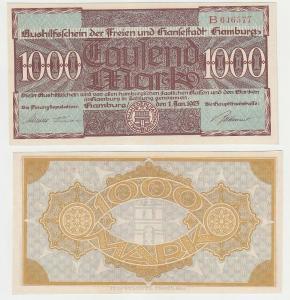 1000 Mark Banknote Aushilfsschein Stadt Hamburg 1.1.1923 Serie B (115848)