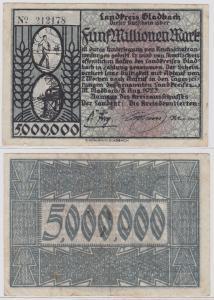 5 Millionen Mark Banknote Landkreis Gladbach 8.8.1923 (121974)